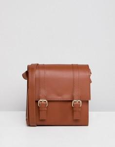 Маленькая кожаная сумка-сэтчел ASOS DESIGN - Рыжий