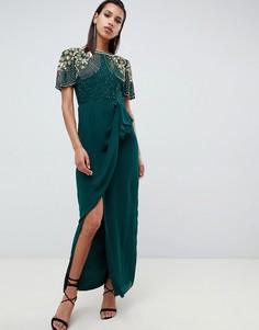 Зеленое платье макси с запахом и оборкой Virgos Lounge - Зеленый