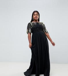 Черное платье макси с отделкой Virgos Lounge Plus - Черный