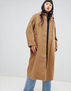 Пальто с добавлением мохеровой шерсти Weekday - Коричневый