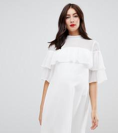 Свободное платье с оборкой ASOS DESIGN Maternity - Белый