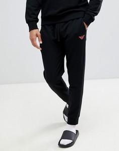 Черные джоггеры с логотипом-орлом и кромкой манжетом Emporio Armani - Черный
