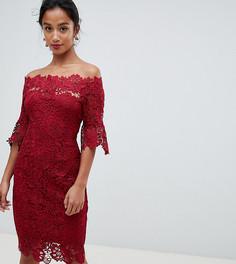 Темно-красное ажурное платье миди с оборками на рукавах Paper Dolls Petite - Красный