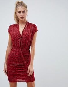 Платье мини со сборками и леопардовым принтом ASOS DESIGN - Мульти