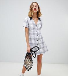Чайное платье мини с принтом в клетку в стиле 90-х Reclaimed Vintage inspired - Белый