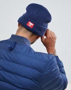 Темно-синяя классическая шапка-бини в рубчик Puma 02170902 - Темно-синий