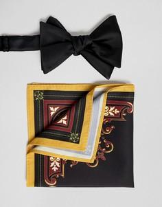 Галстук-бабочка и платок для пиджака ASOS DESIGN - Черный