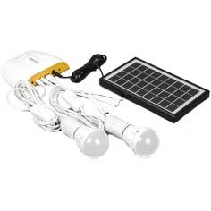 Аккумуляторная солнечная панель feron ps0401 3w, кабель 3м, 2 лампочки по 1w, usb-кабель 32192