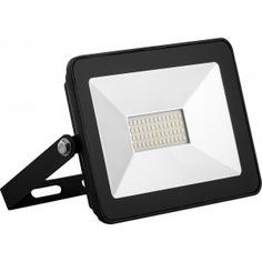 Светодиодный прожектор saffit sfl90-30 2835smd, 30w 4000k ac220v/50hz ip65, черный в компактном корпусе 55076