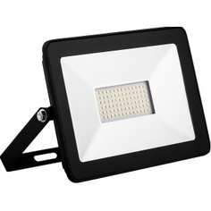 Светодиодный прожектор saffit sfl90-50 2835smd, 50w 4000k ac220v/50hz ip65, черный в компактном корпусе 55077