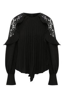 Блуза со складками и кружевными вставками self-portrait