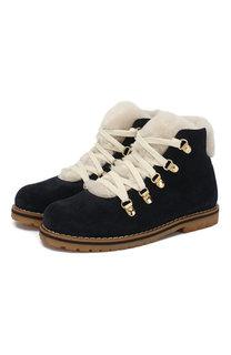Кожаные ботинки на шнуровке с меховой отделкой Il Gufo