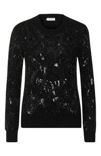 Шерстяной пуловер с декоративной отделкой Saint Laurent