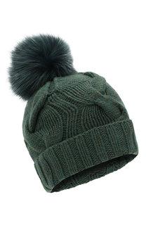 Кашемировая шапка с меховым помпоном Loro Piana