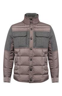 Пуховая куртка на молнии с воротником-стойкой Moncler