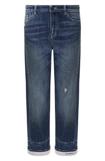 Укороченные джинсы с потертостями и отворотами Giorgio Armani
