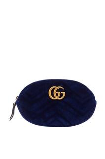 Синяя бархатная сумка GG Marmont Gucci