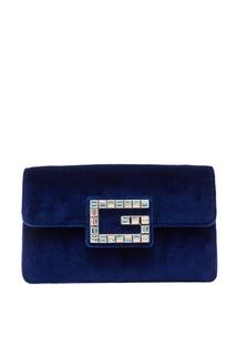 Синяя бархатная сумка с аппликацией Gucci