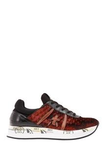 Бордовые кроссовки с фактурной отделкой Premiata
