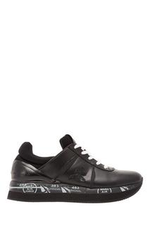 Черные кроссовки с контрастной шнуровкой Premiata