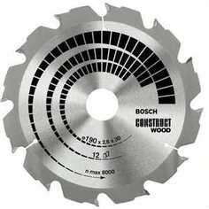 Диск пильный Bosch 160х20/16мм 12зубьев Construct Wood (2.608.640.630)