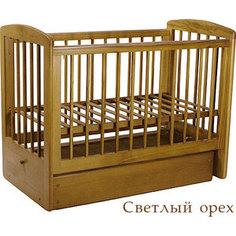Кроватка Кубаньлесстрой Ромашка поперечный маятник/ящик светлый орех АБ 16.2