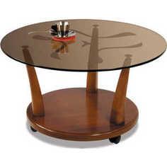 Стол журнальный Мебелик Квартет 4М средне-коричневый/тонированное