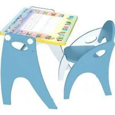 Набор мебели Интехпроект Части света парта-мольберт стульчик голубой 14-368