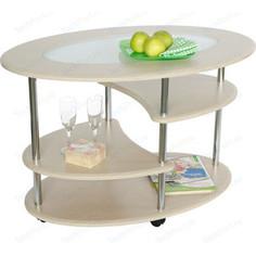 Стол журнальный Калифорния мебель Эллипс со стеклом СЖС-01 дуб