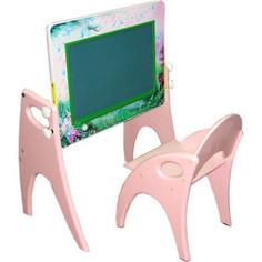 Набор мебели Интехпроект День-ночь парта-мольберт стульчик розовый 14-355