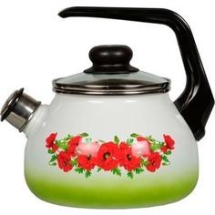 Чайник эмалированный со свистком 2.0 л СтальЭмаль Восточный мак (4с210я)