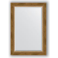 Зеркало с фацетом в багетной раме поворотное Evoform Exclusive 63x93 см, состаренное бронза с плетением 70 мм (BY 3432)