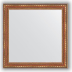 Зеркало в багетной раме Evoform Definite 65x65 см, бронзовые бусы на дереве 60 мм (BY 3139)
