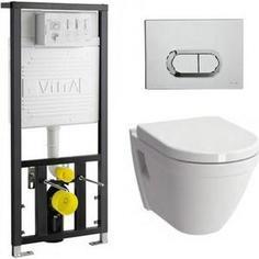 Комплект Vitra S50 безободковый унитаз с сиденьем микролифт + инсталляция + кнопка хром (9003B003-7201)