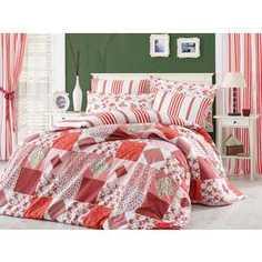 Комплект постельного белья Hobby home collection Евро, поплин, Clara, красный (1501001112)