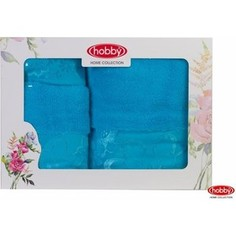 Набор из 3 полотенец Hobby home collection Dora 30x50/50x90/70x140 бирюзовый (1501001215)
