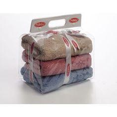 Набор из 3 полотенец Hobby home collection Dora 50x90 3 штуки голубой/бежевый/розовый (1501000443)