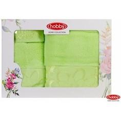 Набор из 3 полотенец Hobby home collection Dora 30x50/50x90/70x140 зеленый (1501001217)