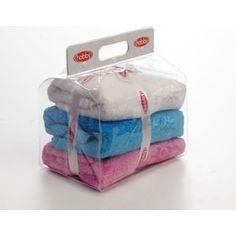 Набор из 3 полотенец Hobby home collection Dora 50x90 3 штуки белый, розовый, бирюзовый (1501000442)
