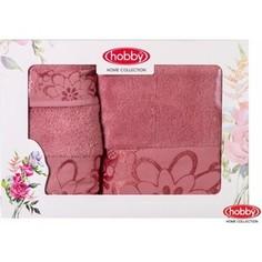 Набор из 3 полотенец Hobby home collection Dora 30x50/50x90/70x140 темно-розовый (1501001220)