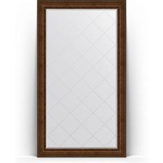 Зеркало напольное с гравировкой поворотное Evoform Exclusive-G Floor 117x207 см, в багетной раме - состаренная бронза с орнаментом 120 мм (BY 6379)