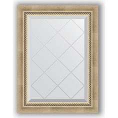 Зеркало с гравировкой поворотное Evoform Exclusive-G 53x71 см, в багетной раме - состаренное серебро с плетением 70 мм (BY 4003)