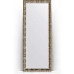Зеркало напольное с фацетом поворотное Evoform Exclusive Floor 78x198 см, в багетной раме - серебряный бамбук 73 мм (BY 6107)