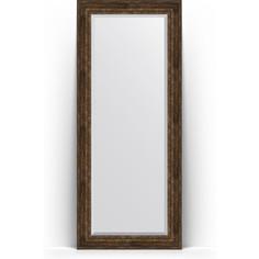 Зеркало напольное с фацетом поворотное Evoform Exclusive Floor 87x207 см, в багетной раме - состаренное дерево с орнаментом 120 мм (BY 6140)