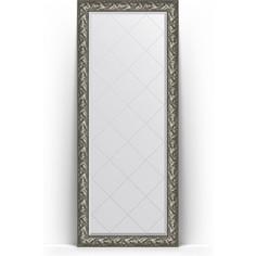 Зеркало напольное с гравировкой поворотное Evoform Exclusive-G Floor 84x203 см, в багетной раме - византия серебро 99 мм (BY 6325)