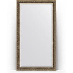 Зеркало напольное с фацетом поворотное Evoform Exclusive Floor 114x204 см, в багетной раме - вензель серебряный 101 мм (BY 6172)