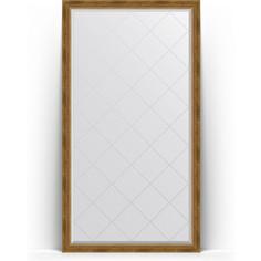 Зеркало напольное с гравировкой поворотное Evoform Exclusive-G Floor 108x198 см, в багетной раме - состаренная бронза с плетением 70 мм (BY 6343)