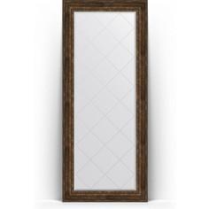 Зеркало напольное с гравировкой поворотное Evoform Exclusive-G Floor 87x207 см, в багетной раме - состаренное дерево с орнаментом 120 мм (BY 6340)