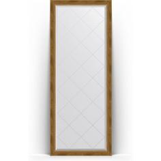 Зеркало напольное с гравировкой поворотное Evoform Exclusive-G Floor 78x198 см, в багетной раме - состаренная бронза с плетением 70 мм (BY 6303)