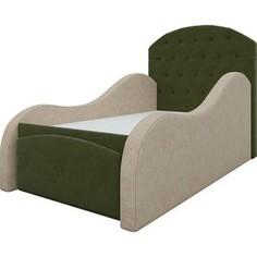 Детская кровать АртМебель Майя микровельвет зелено-бежевый